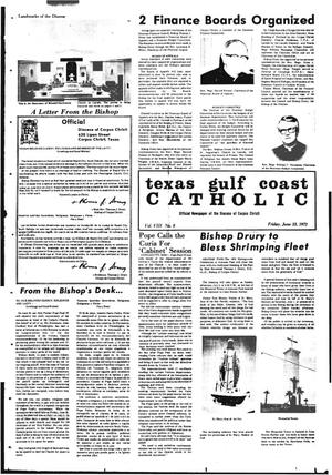Primary view of object titled 'Texas Gulf Coast Catholic (Corpus Christi, Tex.), Vol. 3, No. 8, Ed. 1 Friday, June 23, 1972'.