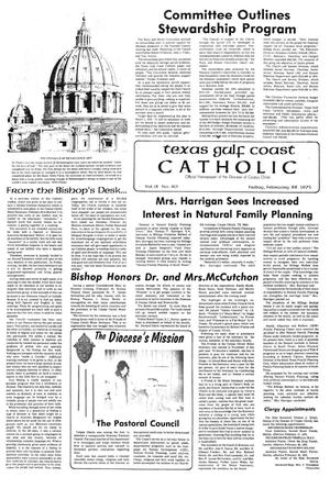 Primary view of object titled 'Texas Gulf Coast Catholic (Corpus Christi, Tex.), Vol. 9, No. 40, Ed. 1 Friday, February 28, 1975'.