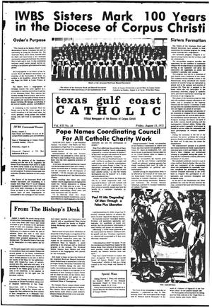 Primary view of object titled 'Texas Gulf Coast Catholic (Corpus Christi, Tex.), Vol. 7, No. 18, Ed. 1 Friday, August 13, 1971'.
