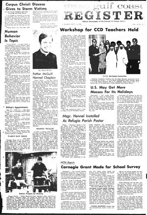 Primary view of object titled 'Texas Gulf Coast Register (Corpus Christi, Tex.), Vol. 4, No. 22, Ed. 1 Friday, September 12, 1969'.