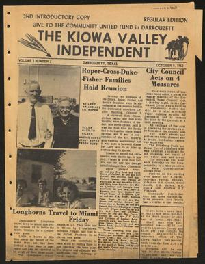 Primary view of object titled 'The Kiowa Valley Independent (Darrouzett, Tex.), Vol. 1, No. 2, Ed. 1 Tuesday, October 9, 1962'.