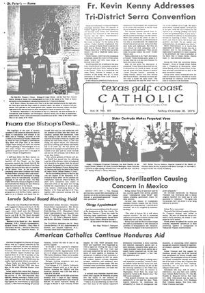 Primary view of object titled 'Texas Gulf Coast Catholic (Corpus Christi, Tex.), Vol. 9, No. 23, Ed. 1 Friday, October 18, 1974'.