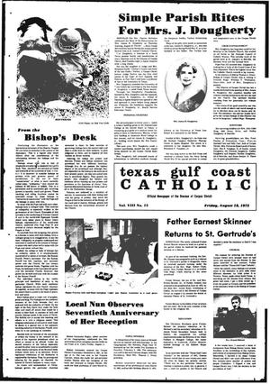 Primary view of object titled 'Texas Gulf Coast Catholic (Corpus Christi, Tex.), Vol. 3, No. 15, Ed. 1 Friday, August 18, 1972'.