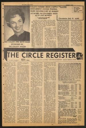 Primary view of object titled 'The Circle Register (Follett, Tex.), Vol. 1, No. 17, Ed. 1 Tuesday, August 7, 1962'.