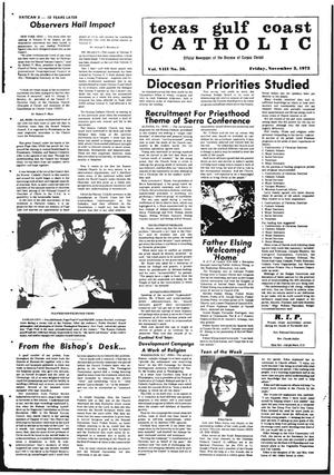 Primary view of object titled 'Texas Gulf Coast Catholic (Corpus Christi, Tex.), Vol. 3, No. 26, Ed. 1 Friday, November 3, 1972'.