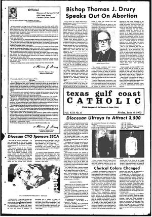 Primary view of object titled 'Texas Gulf Coast Catholic (Corpus Christi, Tex.), Vol. 3, No. 6, Ed. 1 Friday, June 9, 1972'.