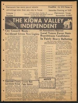 Primary view of object titled 'The Kiowa Valley Independent (Darrouzett, Tex.), Vol. 1, No. 7, Ed. 1 Tuesday, November 13, 1962'.