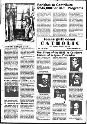 Primary view of object titled 'Texas Gulf Coast Catholic (Corpus Christi, Tex.), Vol. 3, No. 45, Ed. 1 Friday, March 23, 1973'.