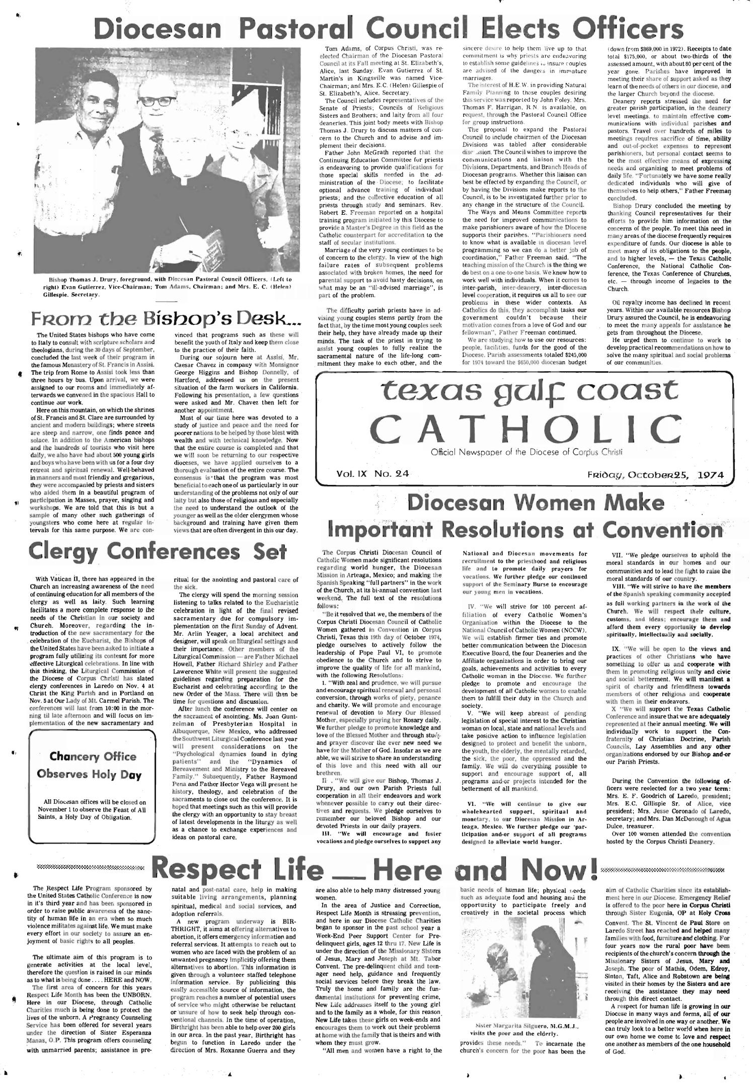 Texas Gulf Coast Catholic (Corpus Christi, Tex.), Vol. 9, No. 24, Ed. 1 Friday, October 25, 1974                                                                                                      [Sequence #]: 1 of 6