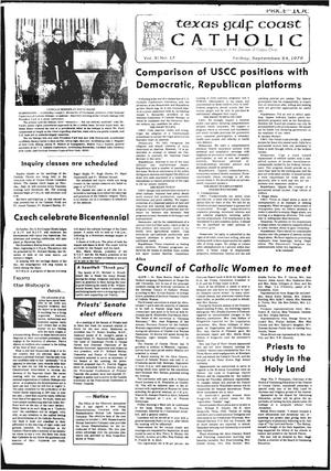 Primary view of object titled 'Texas Gulf Coast Catholic (Corpus Christi, Tex.), Vol. 11, No. 17, Ed. 1 Friday, September 24, 1976'.