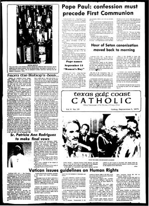 Primary view of object titled 'Texas Gulf Coast Catholic (Corpus Christi, Tex.), Vol. 10, No. 16, Ed. 1 Friday, September 5, 1975'.