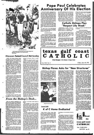 Primary view of object titled 'Texas Gulf Coast Catholic (Corpus Christi, Tex.), Vol. 3, No. 9, Ed. 1 Friday, June 30, 1972'.