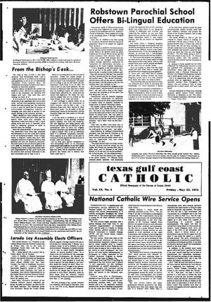 Primary view of object titled 'Texas Gulf Coast Catholic (Corpus Christi, Tex.), Vol. 9, No. 4, Ed. 1 Friday, May 25, 1973'.