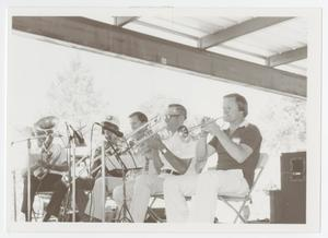 Primary view of object titled '[Photograph of Five Members of Boerne Village Band Performing]'.