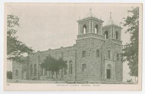 Primary view of object titled '[Postcard of Catholic Church, Boerne, Texas]'.