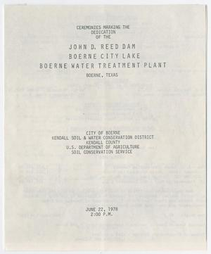 Primary view of object titled '[Program: John D. Reed Dam Dedication Ceremony, June 22, 1978]'.