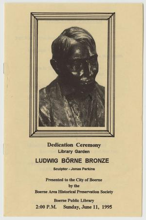 Primary view of object titled '[Program: Ludwig Börne Statue Dedication Ceremony, June 11, 1995]'.