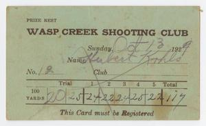 Primary view of object titled '[Wasp Creek Shooting Club Shooting Card]'.