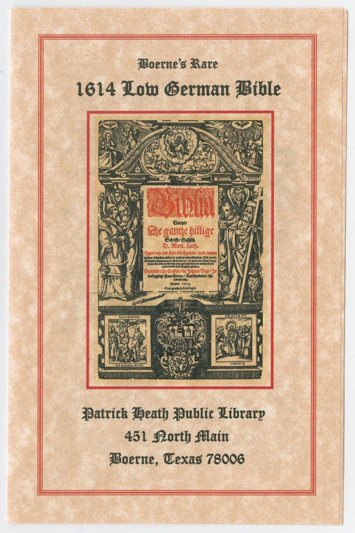 History of Boerne's Rare 1614 Low German Bible] - The Portal to