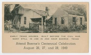 Primary view of object titled '[Postcard of Texas Pre-Civil War Houses, Boerne, Texas]'.