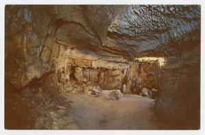 Primary view of object titled '[Postcard of Cascade Caverns' Wagnerian Stage and Wall of Faces]'.