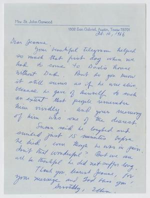 [Letter from Ellen Garwood to Jeane Kempner, February 16, 1966]