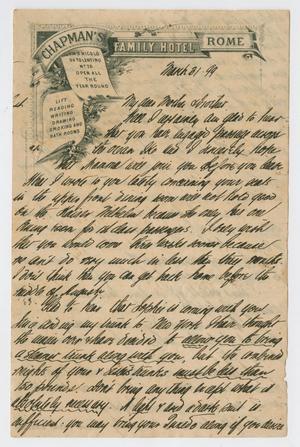 [Letter from Daniel Webster Kempner to Isaac Herbert Kempner and Eliza Seinsheimer, March 31, 1899]