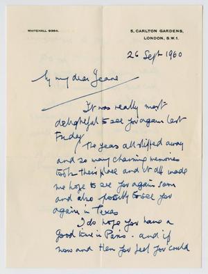 [Letter from Alfred Bossom to Jeane Kempner, September 26, 1960]