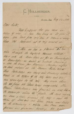 [Letter from Daniel Webster Kempner to his sister, August 26, 1898]