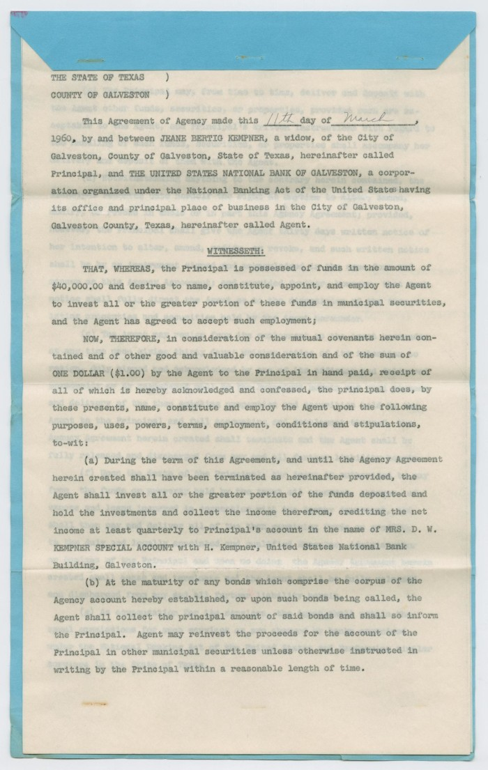 Agency Agreement Between Jeane Bertig Kempner And The Us National