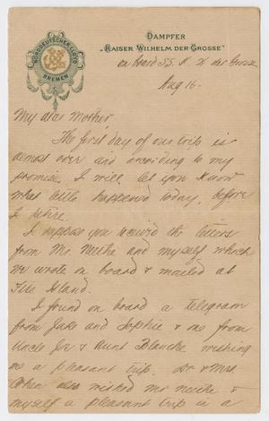 [Letter from Daniel Webster Kempner to Eliza Seinsheimer, August 16-21, 1898]