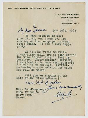 [Letter from Lord Alfred Bossom to Mrs. Dan Kempner, July 3, 1962]