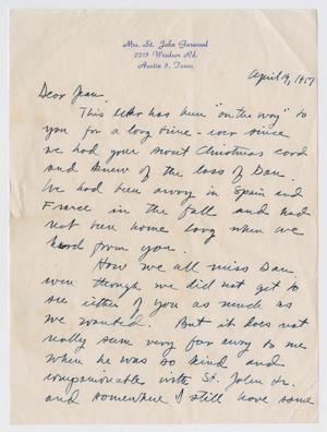 Primary view of object titled '[Letter from Mrs. St. John Garwood to Jeane Kempner, April 19, 1957]'.