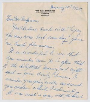 [Letter from Josephine Stewart to Jeane Kempner, January 10, 1965]