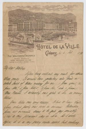 [Letter from Daniel Webster Kempner to Eliza Sinsheimer, February 6, 1898]