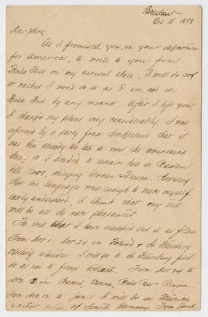Primary view of object titled '[Letter from Daniel Webster Kempner to John, October 15, 1898]'.