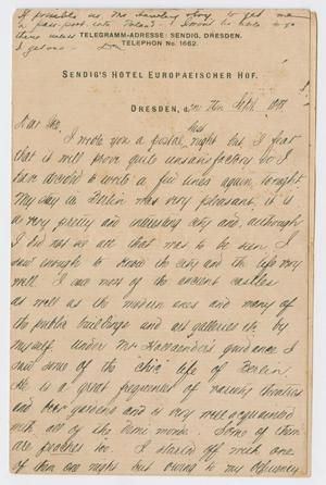 Primary view of object titled '[Letter from Daniel Webster Kempner to Isaac Herbert Kempner, September, 1898]'.