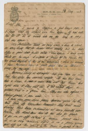 Primary view of object titled '[Letter from Daniel Webster Kempner to Isaac Herbert Kempner, August 28, 1898]'.