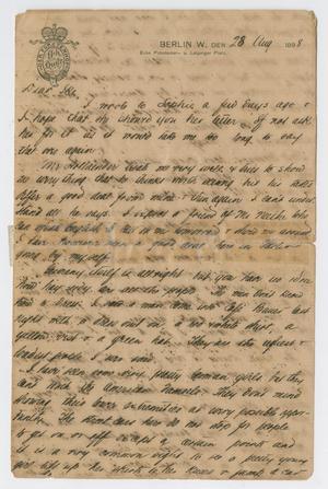 [Letter from Daniel Webster Kempner to Isaac Herbert Kempner, August 28, 1898]