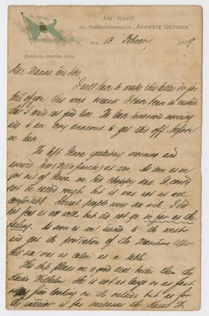 Primary view of object titled '[Letter from Daniel Webster Kempner to Isaac Herbert Kempner and Eliza Seinsheimer, February 13, 1899]'.