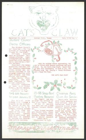 Primary view of object titled 'Cat's Claw (Archer City, Tex.), Vol. 24, No. 6, Ed. 1 Friday, December 17, 1965'.