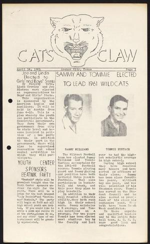 Primary view of object titled 'Cat's Claw (Archer City, Tex.), Vol. 19, No. 12, Ed. 1 Friday, April 14, 1961'.