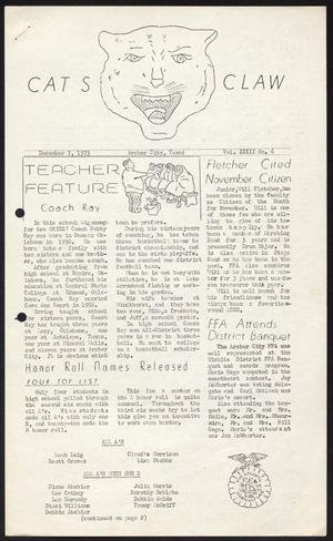 Primary view of object titled 'Cat's Claw (Archer City, Tex.), Vol. 32, No. 6, Ed. 1 Friday, December 7, 1973'.