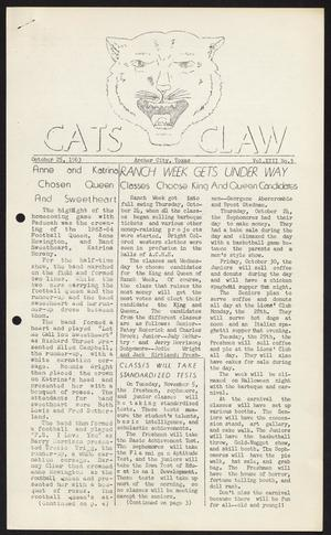 Primary view of object titled 'Cats Claw (Archer City, Tex.), Vol. 22, No. 3, Ed. 1 Friday, October 25, 1963'.