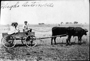Primary view of object titled '[Two girls and one boy sitting in a wagon pulled by cattle]'.
