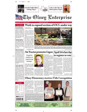 Primary view of object titled 'The Olney Enterprise (Olney, Tex.), Vol. 103, No. 5, Ed. 1 Thursday, April 7, 2011'.