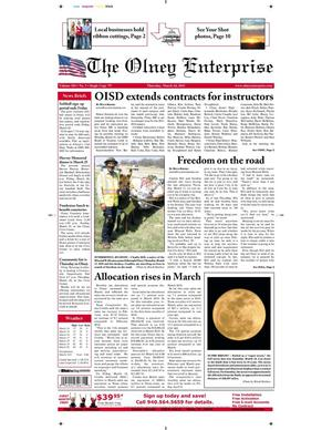 Primary view of object titled 'The Olney Enterprise (Olney, Tex.), Vol. 103, No. 3, Ed. 1 Thursday, March 24, 2011'.