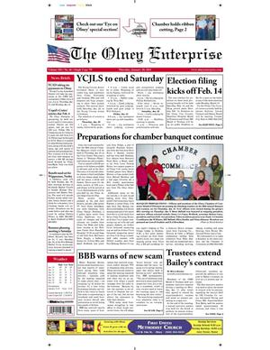 Primary view of object titled 'The Olney Enterprise (Olney, Tex.), Vol. 102, No. 46, Ed. 1 Thursday, January 20, 2011'.