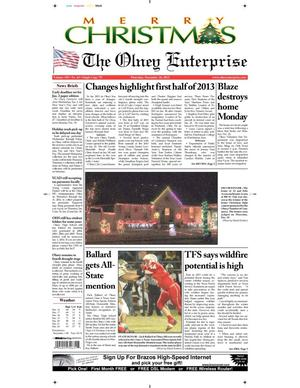 Primary view of object titled 'The Olney Enterprise (Olney, Tex.), Vol. 105, No. 43, Ed. 1 Thursday, December 26, 2013'.