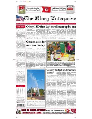 Primary view of object titled 'The Olney Enterprise (Olney, Tex.), Vol. 103, No. 25, Ed. 1 Thursday, August 25, 2011'.